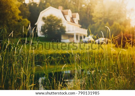 rural view, blurred background. pond and house in the distance at sunset