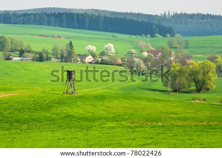 Rural view with hunting tower