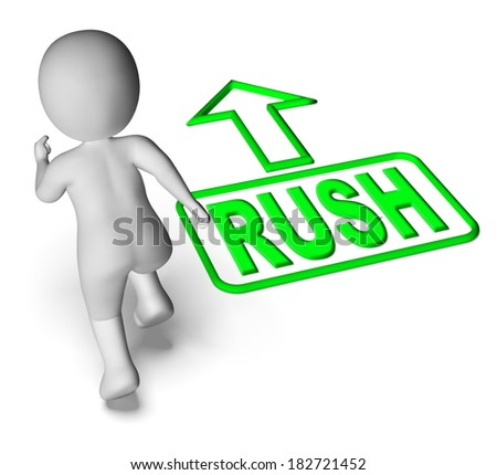Rush And Running 3D Character Showing Urgent Hurry Priority