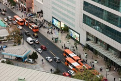 Rush hour at Santiago, Chile