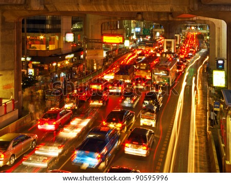 Rush Hour in Bangkok City Centre, Thailand