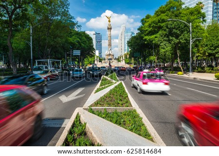 Rush hour in Mexico City, looking toward the Angel of Independence. #625814684