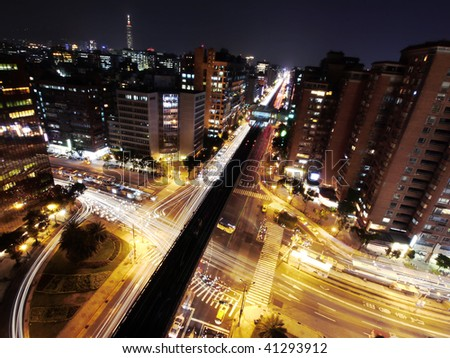 Rush hour in night of city - stock photo