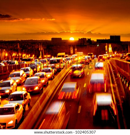Rush hour in the late afternoon. Motion blur - stock photo
