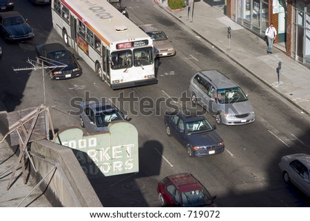 Rush-hour traffic downtown.