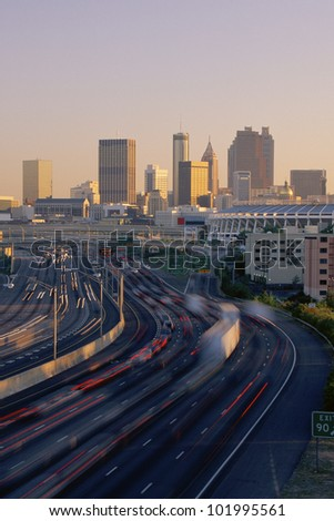 Rush hour traffic with Atlanta beyond
