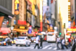 Rush hour with defocused of traffic jam on 5th avenue in Manhattan downtown in vintage style