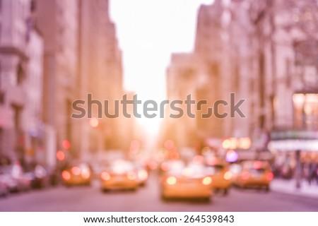 rush hour with defocused yellow ...