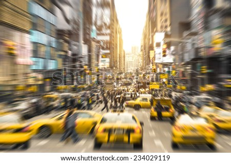 rush hour with yellow taxi cabs ...