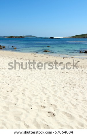 Rushy bay beach, Bryher Isles of Scilly. - stock photo