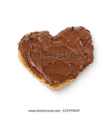 Rusk bread in the form of a heart with Chocolate Spread on Toas isolated on a white background