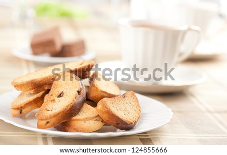 Rusk with raisin on a plate