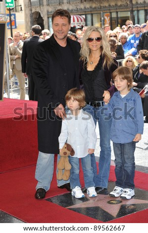 Russell Crowe & family on Hollywood Boulevard where he was honored with the 2,404th star on the Hollywood Walk of Fame. April 12, 2010  Los Angeles, CA Picture: Paul Smith / Featureflash