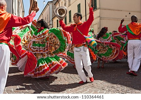 RUSSI ITALY AUGUST 5 ensemble Jocaycu from Colombia colombian dancers in traditional dress performs popular dance at International folk festival on August 5 2012 in Russi Ravenna Italy
