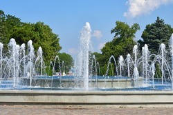 Russia, Anapa city,  musical fountain on the square of the Soviets in sunny day