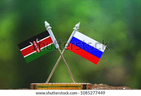 Russia and Kenya small flag with blur green background #1085277449