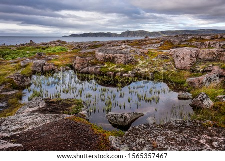 Russia, Arctic, Kola Peninsula, Barents Sea, Teriberka: Rural remote natural place with rocky wildness, dark grey cloudy sky and calm water - concept outdoor adventure recreation nature recreation