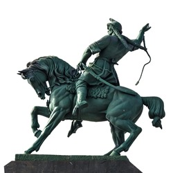 Russia, Bashkortostan, Ufa. Bronze statue (memorial) of the national hero of Salavat Yulayev. The biggest statue of horseman in Europe. Isolated on a white background.