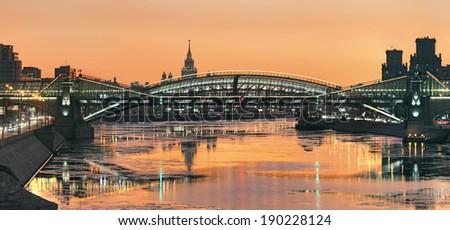Russia. Bogdan Khmelnitsky bridge in Moscow.Red sky at sunset.  November 26, 2011 #190228124