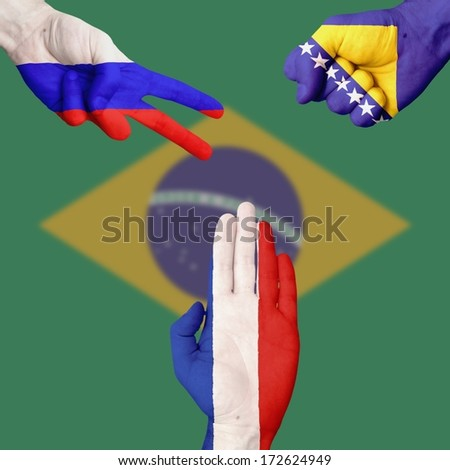 Russia Bosnia France  Rock-Paper-Scissors #172624949