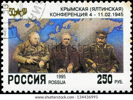 "RUSSIA - CIRCA 1995: A stamp printed by the Russia Post is entitled ""Yalta Conference 1945"", circa 1995"