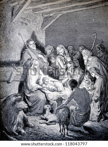 "RUSSIA - CIRCA 1913: An engraving printed in Russia shows image ""Nativity"", The book ""Holy Bible"", circa 1913"