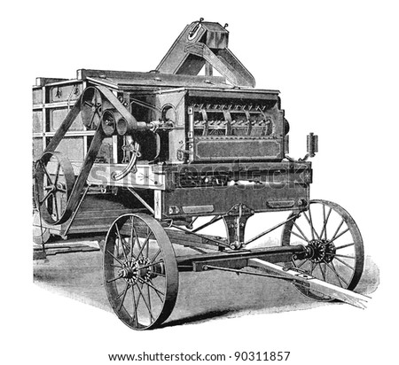 "RUSSIA - CIRCA 1897: engraving of agricultural machinery taken from an original print of ""Agricultural machinery. Atlas"", creator K.K.Veber. St. Petersburg, RUSSIA, circa 1897"