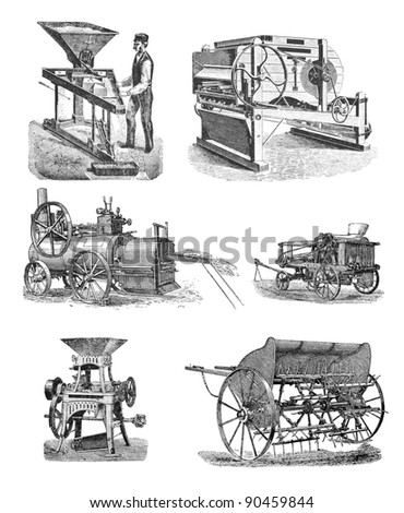 """RUSSIA - CIRCA 1897: engraving of agricultural machinery taken from an original print of """"Agricultural machinery. Atlas"""", creator K.K.Veber. St. Petersburg, RUSSIA, circa 1897"""