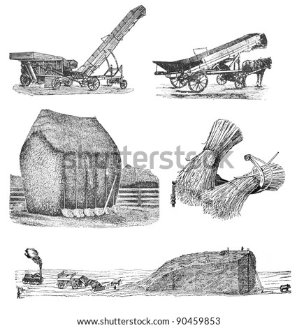 "RUSSIA - CIRCA 1897: engraving of agriculture taken from an original print of ""Agricultural machinery. Atlas"", creator K.K.Veber. St. Petersburg, RUSSIA, circa 1897"