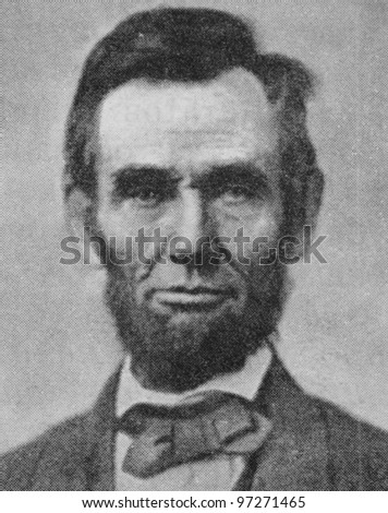 RUSSIA - CIRCA 2008: Illustration from the textbook Modern History, published in the Russia shows Portrait of U.S. President Abraham Lincoln (1809-1865), circa 2008