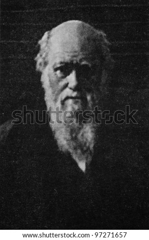 RUSSIA - CIRCA 2008: Illustration from the textbook Modern History, published in the Russia shows Portrait of British scientist Charles Darwin (1809-1882), circa 2008