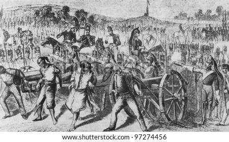 RUSSIA - CIRCA 2008: Illustration from the textbook Modern History, published in the Russia shows rebellion in India in 1857, circa 2008