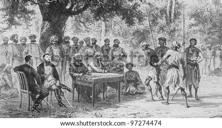 RUSSIA - CIRCA 2008: Illustration from the textbook Modern History, published in the Russia shows collect taxes from Indian peasants in the 19th century, circa 2008