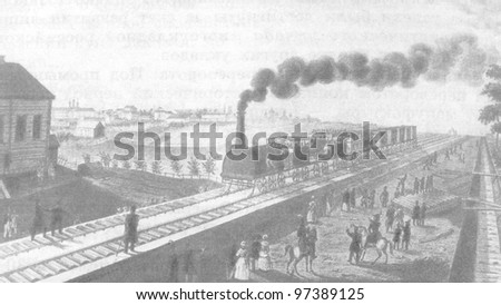 RUSSIA - CIRCA 2011: Illustration from the textbook The History of Russia, published in the Russia shows Railroad St. Petersburg - Tsarskoye Selo, Russia, 19th century, circa 2011