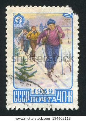 RUSSIA - CIRCA 1959: stamp printed by Russia, shows Skiers, circa 1959