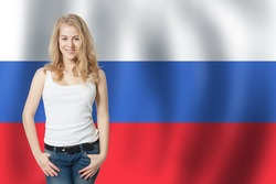 Russia concept with happy woman student on the Russian Federation flag background. Learn russian language