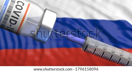 Russia Coronavirus vaccine, Sputnik V. Covid-19 vaccination, flu prevention, immunization concept. Vial dose and medical syringe, russian flag background. 3d illustration