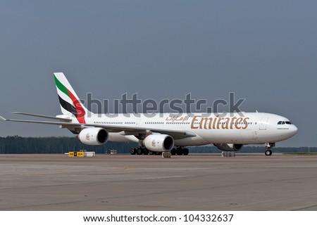 RUSSIA, DOMODEDOVO - SEPTEMBER 1: The aircraft operated by Emirates taxis for arrival Moscow airport Domodedovo on September 01, 2011. The company in its fleet has 10 Airbus aircraft A340