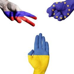 Russia European Union Ukraine rock-paper-scissors