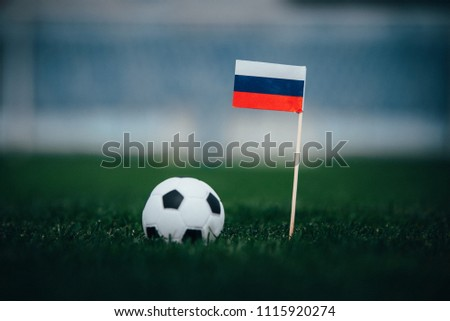 Russia Flag and Football ball on green grass #1115920274