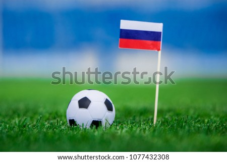 Russia Flag and football ball on green grass. Photo, copy space. #1077432308