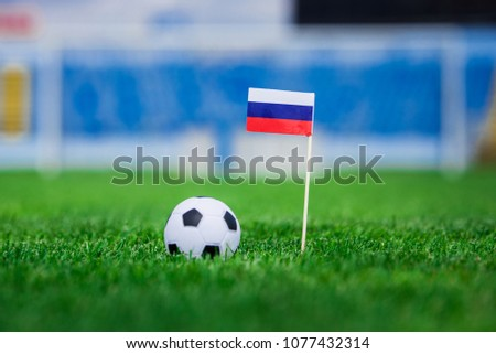 Russia Flag and football ball on green grass. Photo, copy space. #1077432314