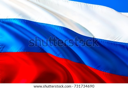 Russia flag. 3D Waving flag design. Red, white and blue flag. The national symbol of Russia Federation background wallpaper, ribbon, vector, pattern