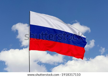 Russia flag isolated on the blue sky with clipping path. close up waving flag of Russia. flag symbols of Russia. Stockfoto ©