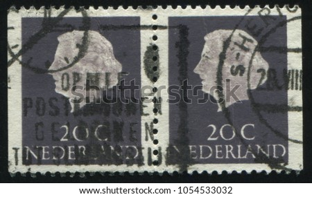 RUSSIA KALININGRAD, 27 JUNE 2017: stamp printed by Netherlands shows Queen Juliana, circa 1953