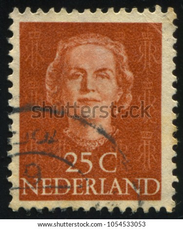 RUSSIA KALININGRAD, 27 JUNE 2017: stamp printed by Netherlands shows Queen Juliana, circa 1949