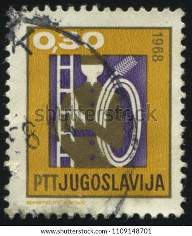 RUSSIA KALININGRAD, 12 NOVEMBER 2016: stamp printed by Russia, shows a chimney sweep, circa 1968