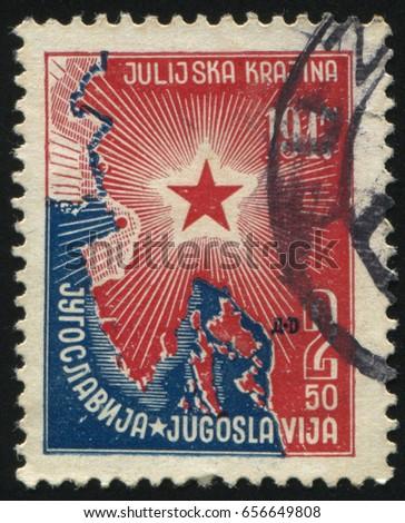 RUSSIA KALININGRAD, 12 NOVEMBER 2016: stamp printed by Yugoslavia, shows map and star, circa 1947
