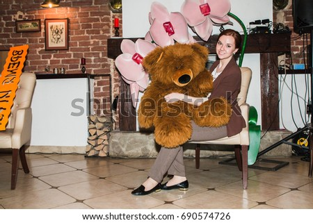 Russia, Kirov - February, 19, 2017: Woman takes part in the festival Time for play which includes plays for business and plays for coaching and teaching in Kirov city in 2017