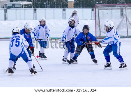 RUSSIA, KRASNOGORSK - MARCH 03, 2015: final stage children\'s hockey League bandy, Russia.